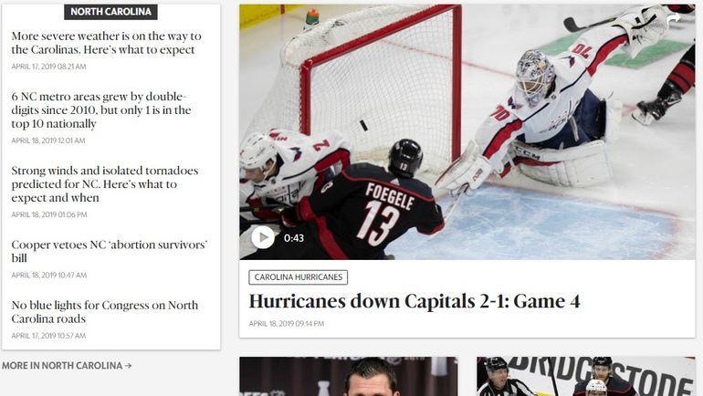 """Страница The News&Obsever после четвертого матча между """"Вашингтоном"""" и """"Каролиной"""" (1:2)."""
