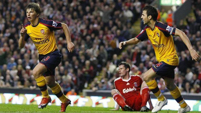 21 апреля 2009 года. Ливерпуль. Андрей Аршавин празднует гол. Фото Reuters