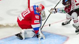 25 апреля. Рига. Латвия - Россия - 2:1 ОТ. Александр Георгиев в игровом эпизоде.