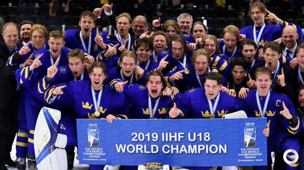 28 апреля. Эрншельдсвик. Швеция-U18 - Россия-U18 - 4:3 ОТ. Юниоры сборной Швеции выиграли домашний чемпионат мира. Фото REUTERS