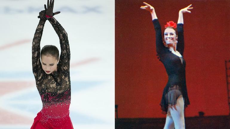 Алина Загитова и Майя Плисецкая в образе Кармен.