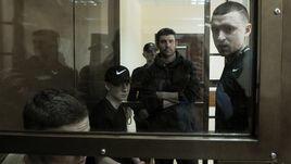 6 мая. Москва. Александр и Кирилл Кокорины, Александр Протасовицкий и Павел Мамаев (слева направо) на заседании Пресненского суда.