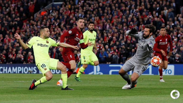 """7 мая. Ливерпуль. """"Ливерпуль"""" – """"Барселона"""" – 4:0. Жорди Альба против Алиссона."""