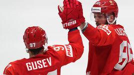 10 мая. Братислава. Россия – Норвегия – 5:2. Никита Гусев (слева) и Никита Кучеров.