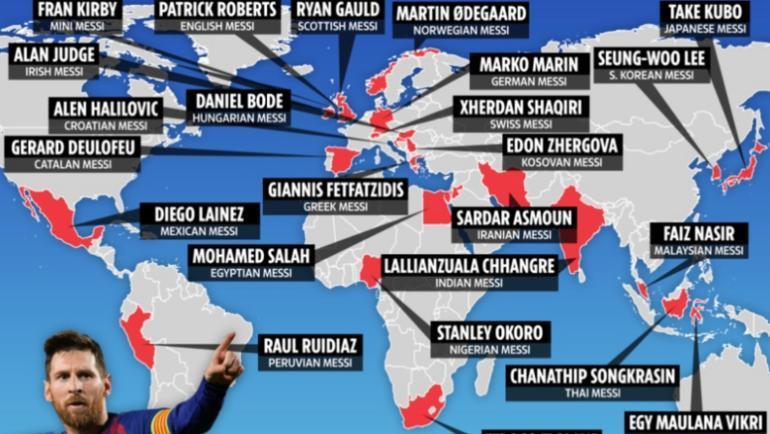 """Таблоид The Sun составил список """"новых Месси"""" для 23 стран."""