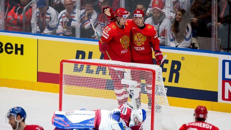 13 мая. Братислава. Россия - Чехия - 3:0. Никита Гусев (№97) забросил вторую шайбу в ворота чехов. Фото AFP