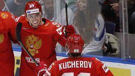13 мая. Братислава. Россия - Чехия - 3:0. Никита Гусев (№97) празднует гол с Никитой Кучеровым (№86) и Никитой Зайцевым.