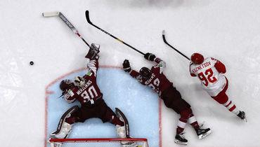 18 мая. Братислава. Латвия - Россия - 1:3. Опасный момент у ворот латвийской команды.