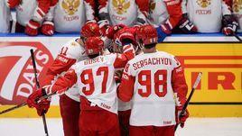 19 мая. Братислава. Швейцария - Россия - 0:3. Хоккеисты сборной России празднуют заброшенную шайбу.