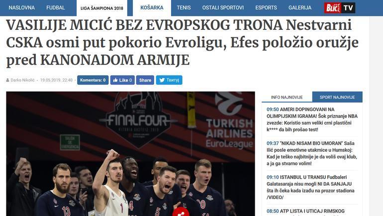 Страница сербского издания Блик после финала баскетбольной Евролиги. Фото «СЭ»
