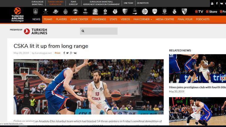 Страница Euroleague.net после финала баскетбольной Евролиги. Фото «СЭ»