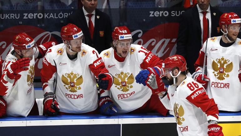 19 мая. Братислава. Швейцария - Россия - 0:3. Никита Кучеров (№86) празднует очередную шайбу в ворота соперников. Фото Reuters