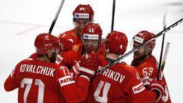 21 мая. Братислава. Швеция - Россия - 4:7. Радость российских хоккеистов после очередной шайбы.