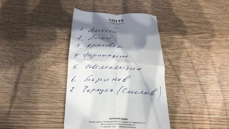 "Список пенальтистов от Юрия Семина. Фото Вячеслав Короткин, ""СЭ"""