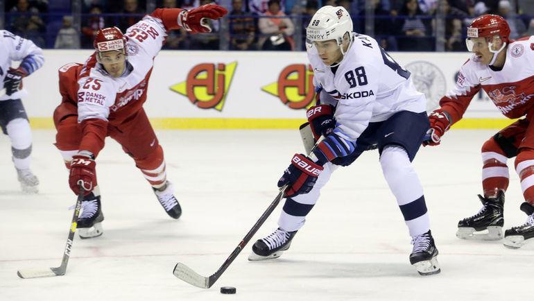 18 мая. Кошице. Дания - США - 1:7. В этом матче Патрик Кейн (№ 88) отдал результативные передачи. Фото Reuters