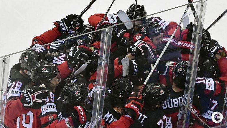 23 мая. Кошице. Канада - Швейцария - 3:2 ОТ. Радость канадцев после победы в овертайме.