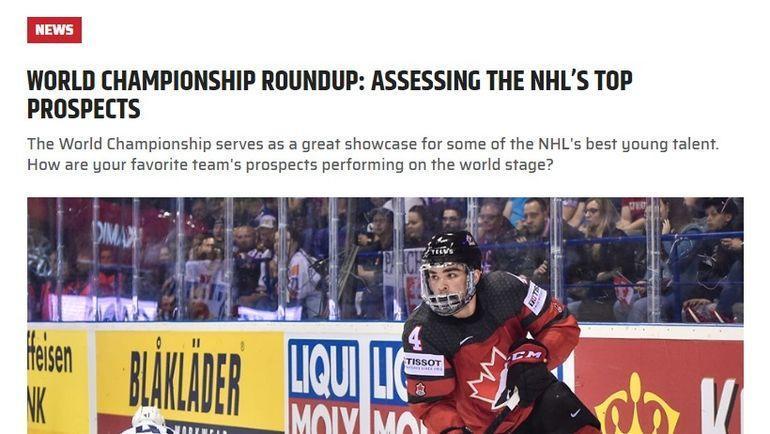 Страница сайта The Hockey News после четвертьфинала чемпионата мира по хоккею между сборными России и США (4:3).