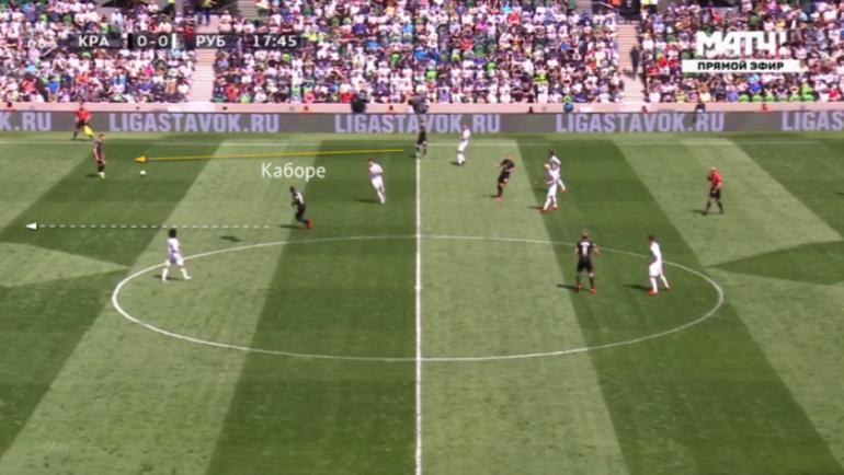 Каборе опускается на одну линию с центральными защитниками.