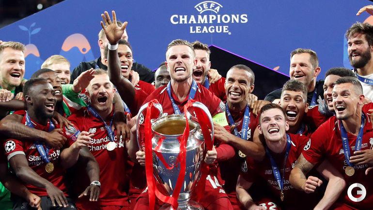 """1 июня. Мадрид. """"Тоттенхэм"""" - """"Ливерпуль"""" - 0:2. """"Ливерпуль"""" празднует победу."""