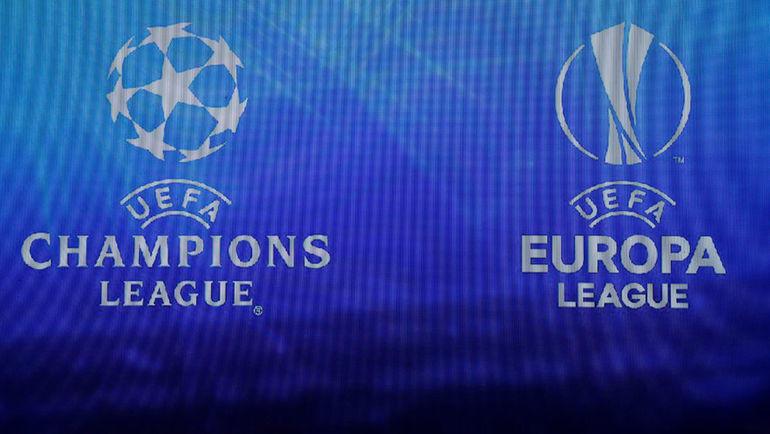 Логотипы Лиги чемпионов и Лиги Европы. Фото REUTERS