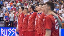 2 июня. Нови-Сад. Россия – Сербия – 3:2. Российские волейболисты перед началом встречи с сербами.