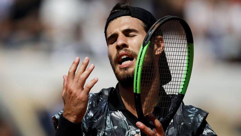6 июня. Париж. Карен Хачанов во время четвертьфинала Roland Garros  с Домиником Тимом (2:6, 4:6, 2:6). Фото AFP