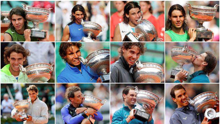 Рафаэль Надаль и 12 победных фото на Roland Garros.