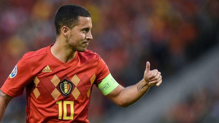11 июня. Брюссель. Бельгия - Шотландия - 3:0. Эден Азар в одном из игровых моментов матча. Фото AFP