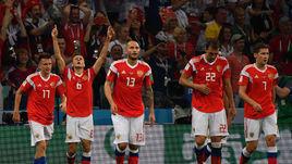 7 июля 2018 года. Россия - Хорватия - 2:2 (пенальти 3:4). Игроки сборной России.