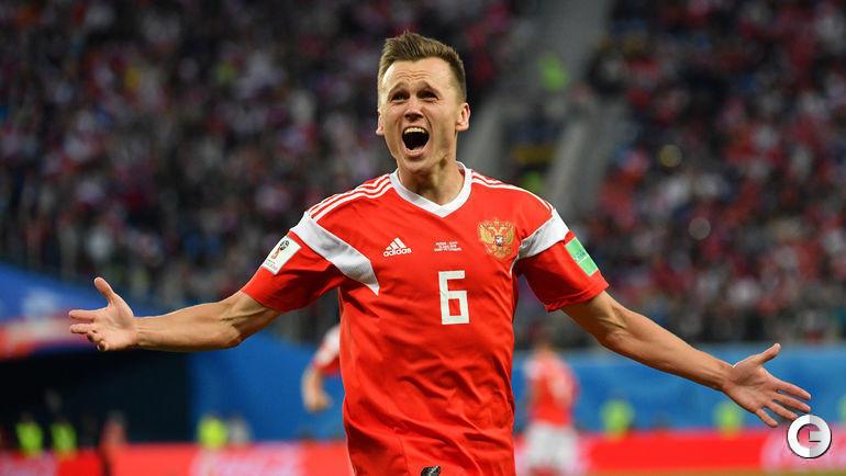 19 июня 2018 года. Санкт-Петербург. Россия - Египет - 3:1. Денис Черышев празднует гол.