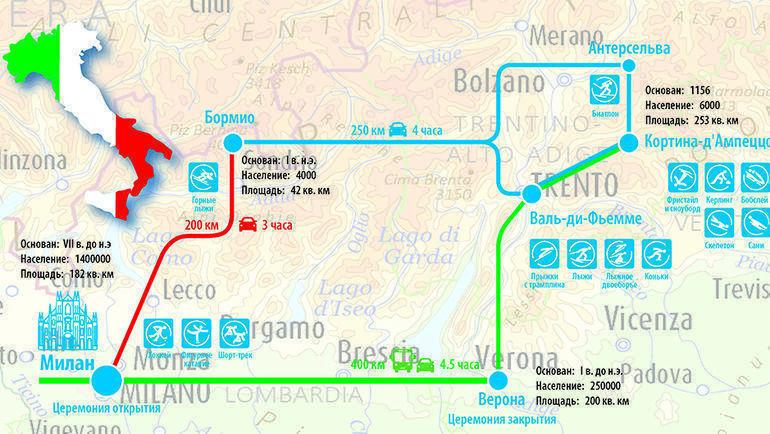Впервые в истории Игры будут разбросаны по трем разным регионам - фактически по всему северу Италии. Между Миланом и Кортина-д'Ампеццо - 400 километров и почти пять часов пути. Фото «СЭ»