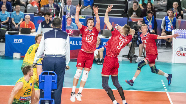 Волейбол, мужская Лига наций, Россия разгромила Австралию, до выхода в финал Лиги наций России осталась одна победа
