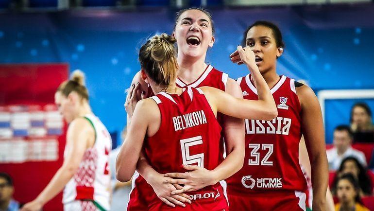 Радость игроков женской сборной России по баскетболу. Фото FIBA