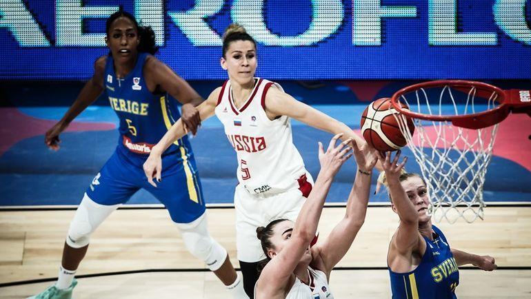 6 июня. Белград. Россия - Швеция - 52:57. Игровой момент. Фото FIBA