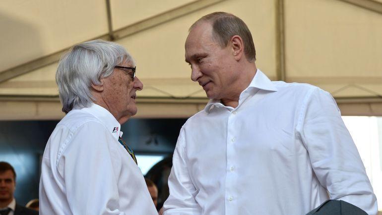 Берни Экклстоун и Владимир Путин. Фото AFP