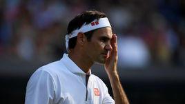 10 июля. Лондон. Роджер Федерер – Кеи Нишикори – 4:6, 6:1, 6:4, 6:4. Швейцарец после одного из розыгрышей.
