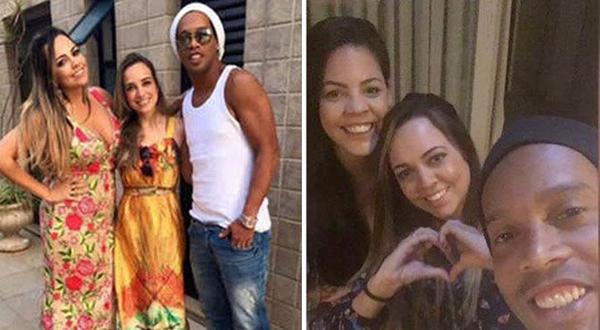 Роналдинью с двумя своими девушками. Фото campoformosonoticias.com