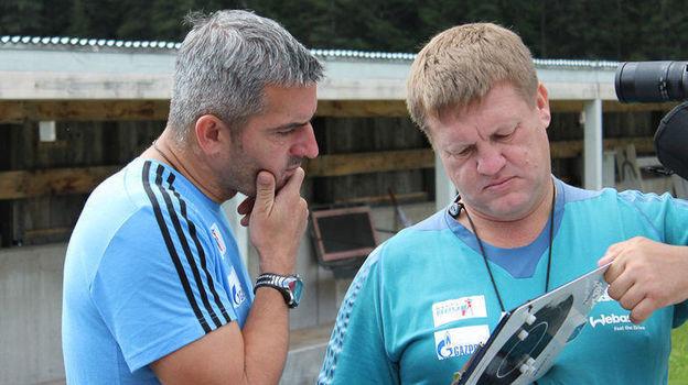 Рикко Гросс и Сергей Богданов. Фото СБР, biathlonrus.com