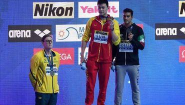 21 июля. Кванджу. Мак Хортон, Сунь Ян и Габриэле Детти - призеры чемпионата мира на дистанции 400 метров вольным стилем.