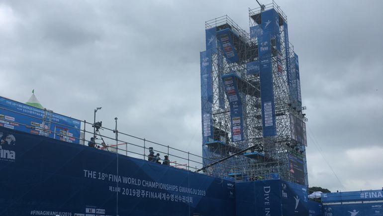 """Вышка для хайдайверов высотой 27 метров на чемпионате мира по водным видам спорта в Кванджу. Фото """"СЭ"""""""