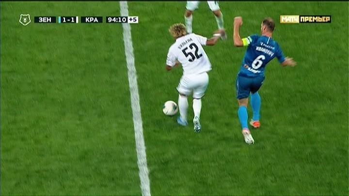 Гол Дзюбы: начало атаки, Иванович vs Вилена.