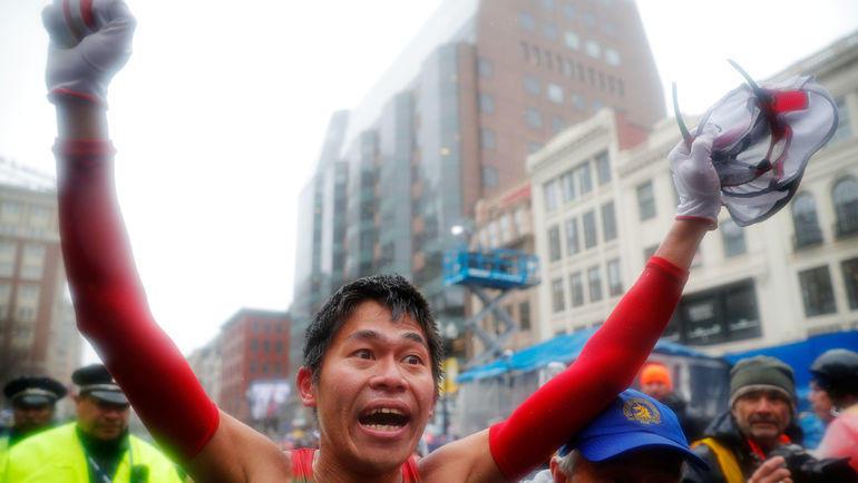 16 апреля 2018 года. Бостон. Юки Каваути стал победителем бостонского марафона. Фото REUTERS