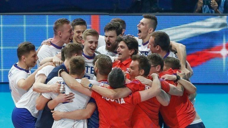 Мужская сборная России по волейболу празднует выход на Олимпиаду. Фото AFP, AFP