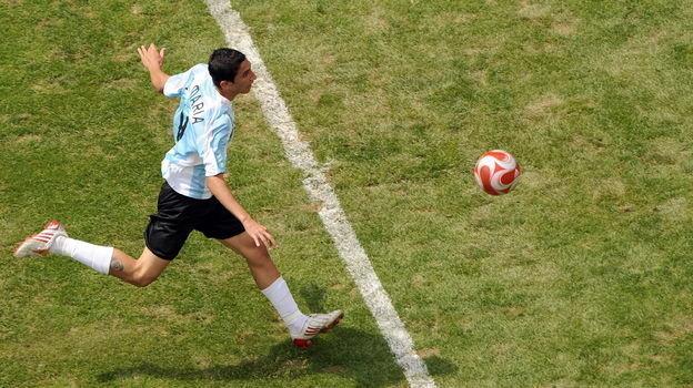 23 августа 2008 года. Пекин. Нигерия - Аргентина - 0:1. Анхель Ди Мария забивает гол. Фото AFP