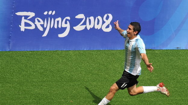 23 августа 2008 года. Пекин. Нигерия - Аргентина - 0:1. Анхель Ди Мария празднует гол. Фото AFP