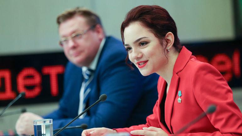Евгения Медведева на пресс-конференции в Москве. Фото Дарья Исаева, «СЭ» / Canon EOS-1D X Mark II