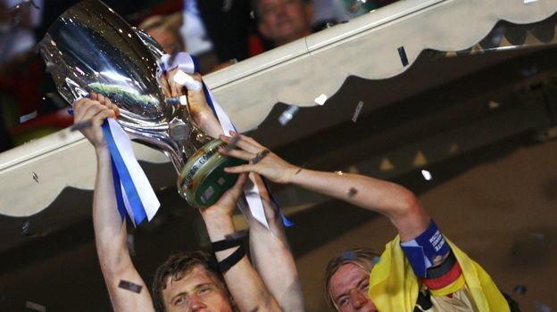 29 августа 2008 года. Монако. «Зенит» - «Манчестер Юнайтед» - 2:1. Павел Погребняк и Анатолий Тимощук. Фото AFP