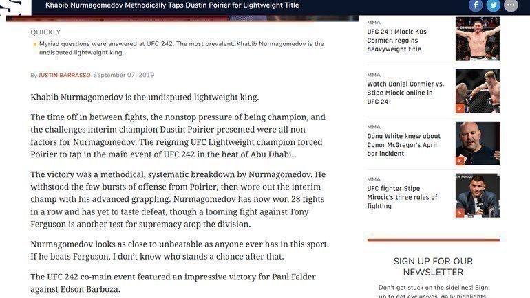 Sports Illustrated - о победе Хабиба над Порье.