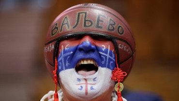 Фанат сборной Сербии.