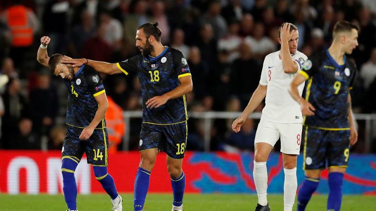 10сентября. Саутгемптон. Англия— Косово— 5:3. Гости празднуют гол. Фото AFP